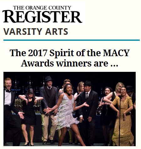 OC Register Varsity Arts recognizes the Spirit of the MACY Awards winners.